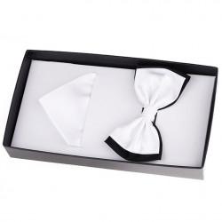 Bílý luxusní saténový motýlek s kapesníčkem Assante 90391