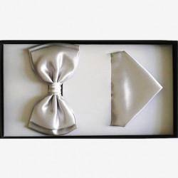 Šedý motýlek s kapesníkem Assante 90393