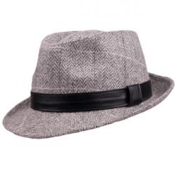 Šedý pánský klobouk Harris Tweed károvaný Assante 85094
