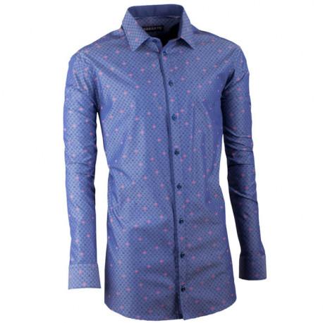 Prodloužená pánská košile slim modromodrá Assante 20797