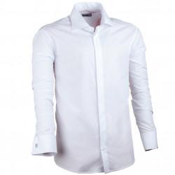 Prodloužená košile na manžetový knoflík bílá regular Assante 20008