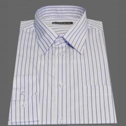 Prodloužená pánská košile bílá modrý pruh Assante 20616