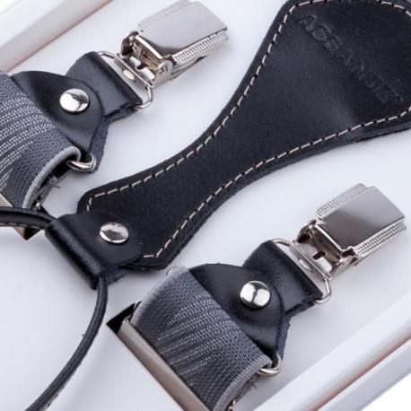 Luxusní šedé kšandy s hedvábným leskem kožená poutka Assante 90055
