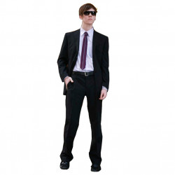 Černý pánský oblek extra prodloužený na výšku 188 - 194 cm Federico Calvallini 160620