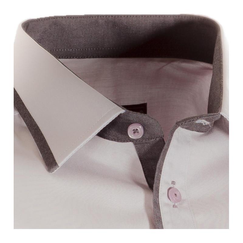 Prodloužená pánská košile šedá slim 100 % bavlna Assante 20705 bba4b6ddcd