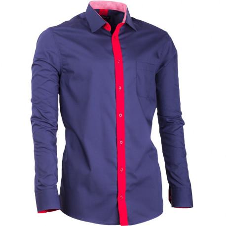 Prodloužená pánská košile slim fit modrá Assante 20716