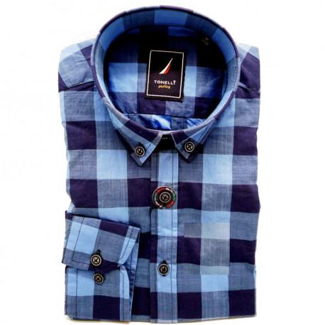 Modrá pánská košile dlouhý rukáv rovný střih Tonelli 110912
