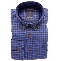 Modrá pánská košile dlouhý rukáv rovný střih Tonelli 110913