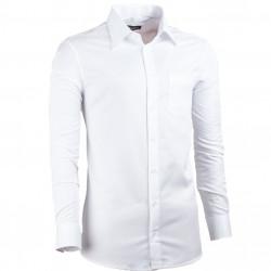 Prodloužená pánská košile slim fit bílá Assante 20017