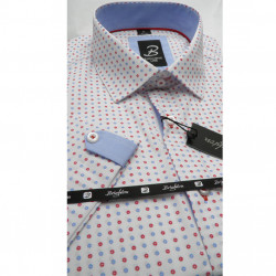 Bílá pánská košile krátký rukáv vypasovaný střih Brighton 110053