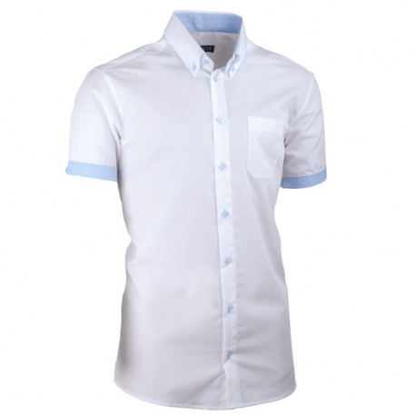 Bílá pánská košile slim fit 100 % bavlna non iron Assante 40009