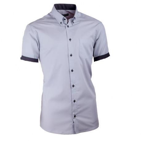 Pánská košile slim šedá s černou Assante 40117