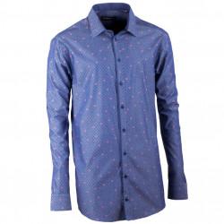 Prodloužená pánská košile rovná modro modrá Assante 20798