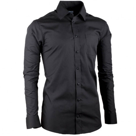 Prodloužená pánská košile slim fit černá Aramgad 20100