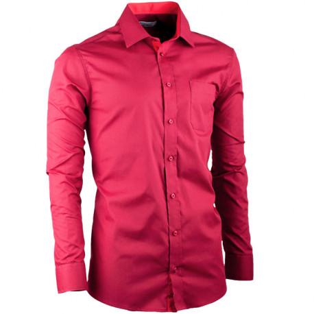 Prodloužená pánská košile slim fit bordó Aramgad 20307