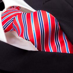 Červená pruhovaná kravata Greg 93208