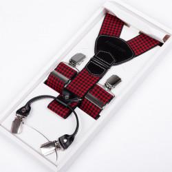 Luxusní červenočerné kšandy kožená poutka Assante 90042