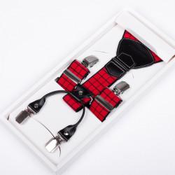Luxusní červené kšandy kožená poutka Assante 90048