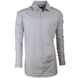 Prodloužená pánská košile slim fit šedá Assante 20118