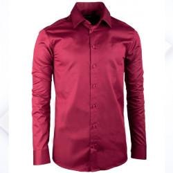 Prodloužená pánská košile slim vínově červená Assante 20315