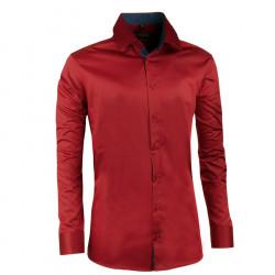 Prodloužená pánská košile slim tmavě čevená Assante 20310