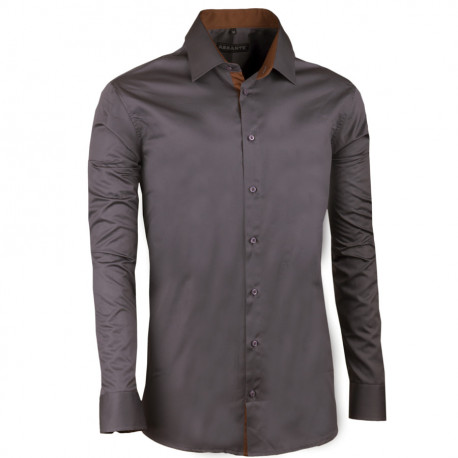 Extra prodloužená pánská košile slim tmavě šedá Assante 20117