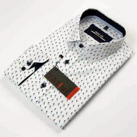 Bílá pánská košile dlouhý rukáv rovný střih Native 120001