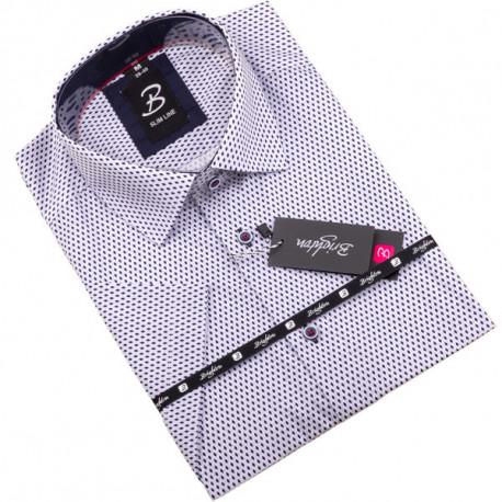 Modrobílá pánská košile krátký rukáv vypasovaný střih Brighton 109813