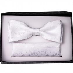 Bílý svatební motýlek s kapesníčkem Assante 90202