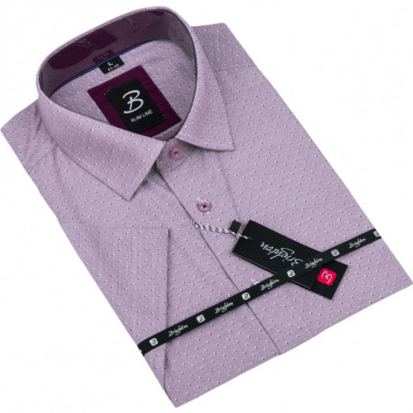 Fialová pánská košile krátký rukáv vypasovaný střih Brighton 109821