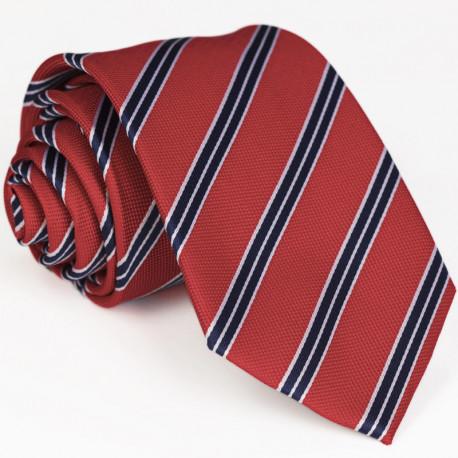 Červená kravata s modrým pruhem Greg 93013