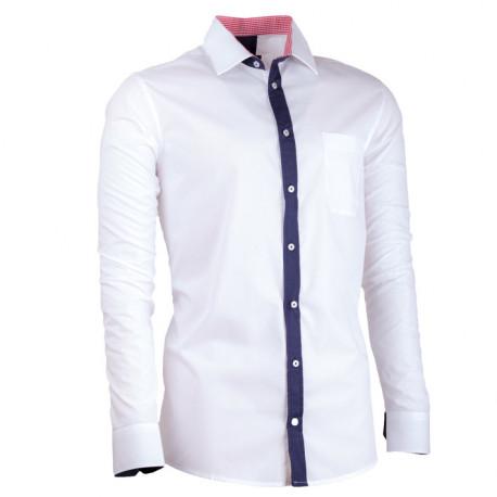 Bílá pánská košile s dlouhým rukávem slim fit Assante 30687