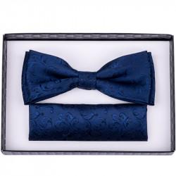 Tmavě modrý motýlek s kapesníčkem Assante 90249