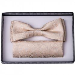 Béžový svatební motýlek s kapesníčkem Assante 90237