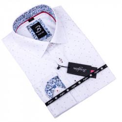 Bílá s modrým vzorem pánská košile slim fit Brighton 109901