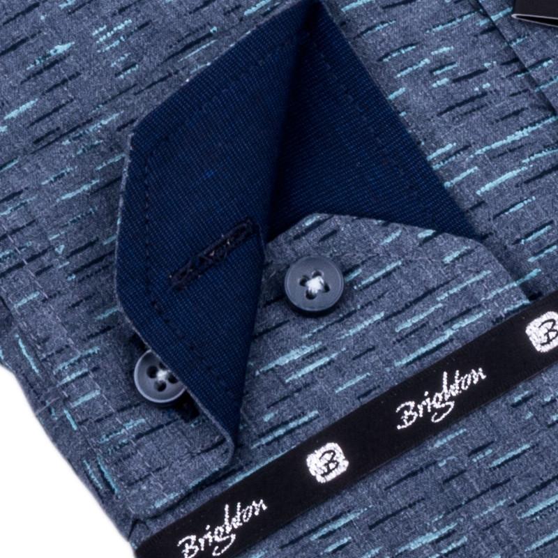 5fccee17d57 Šedá s tyrkys pánská košile slim fit Brighton 109905