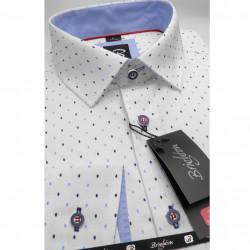 33613c08326 Bílomodrá pánská košile dlouhý rukáv s podšitým límcem Brighton 109994