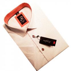 Bílooranžová pánská košile s krátkým rukávem rovný střih Brighton 109986