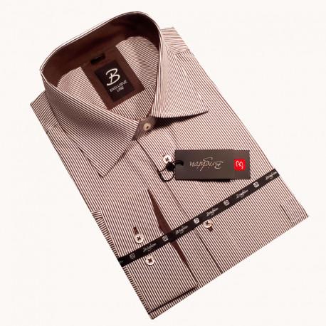 Hnědá pánská košile dlouhý rukáv vypasovaný střih Brighton 110031