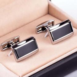 Černo stříbrné manžetové knoflíky Assante 90543