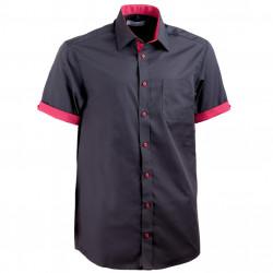 Černá pánská košile rovná s krátkým rukávem Aramgad 40142