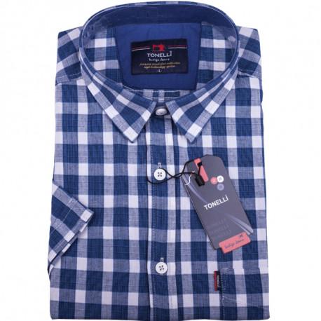Bílá košile s modrou kostkou košile Tonelli 110863