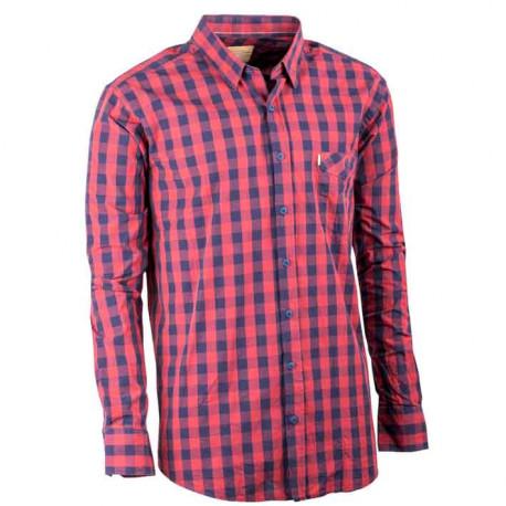 Červená pánské košile dlouhý rukáv rovný střih Tonelli 110987