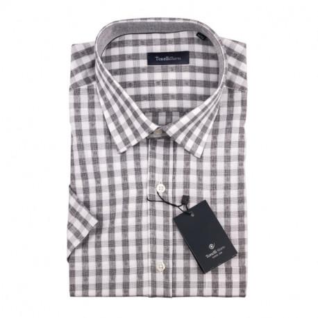 Pánská košile šedobílá krátký rukáv Tonelli 110872