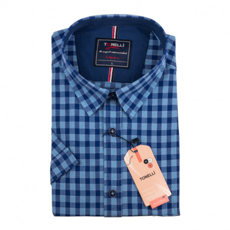 Pánská nadměrná košile modrá krátký rukáv Tonelli 110884