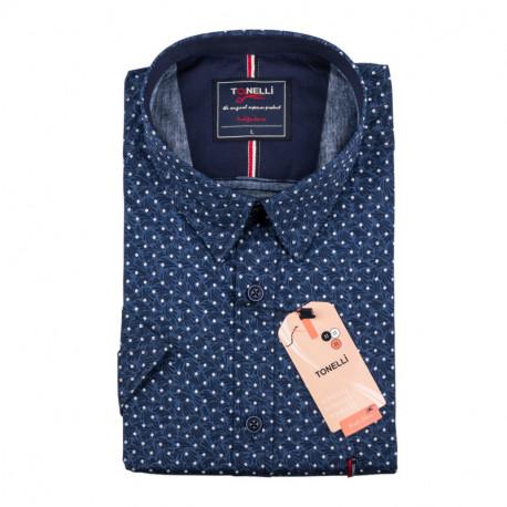 Pánská nadměrná košile modrá krátký rukáv Tonelli 110887