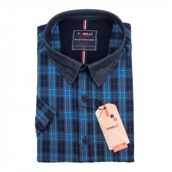 Pánská nadměrná košile modrá krátký rukáv Tonelli 110888