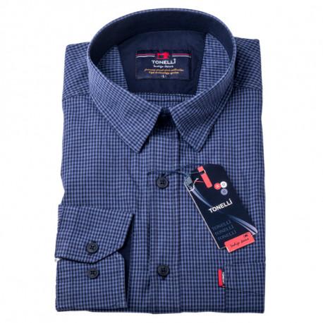 Pánská košile modrá dlouhý rukáv Tonelli 110916