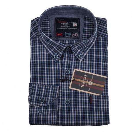Pánská košile modrá dlouhý rukáv Tonelli 110919