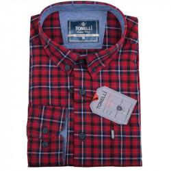 Pánská košile červená dlouhý rukáv Tonelli 110926